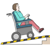 Hier sieht man einen Rollstuhlfahrer, der eine Rampe hoch fährt.