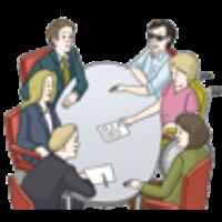 Hier sieht man Menschen mit und ohne Behinderung an einem Tisch sitzen.