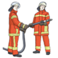 Hier sieht man zwei Feuerwehr-Leute.