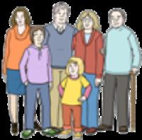 Hier sieht man eine Gruppe von Menschen: Kinder, Erwachsene und ältere Personen.