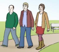 Hier sieht man Spaziergänger auf einem Gehweg