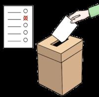 Hier sieht man einen Wahl-Zettel und eine Wahl-Urne